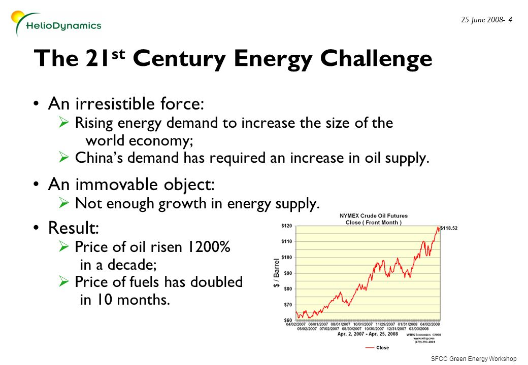 SFCC Green Energy Workshop 25 June 2008- 4 The 21 st Century Energy Challenge An irresistible force:  Rising energy demand to increase the size of the world economy;  China's demand has required an increase in oil supply.