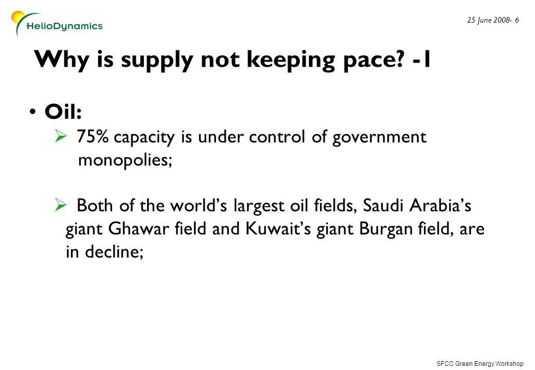 SFCC Green Energy Workshop 25 June 2008- 7 Why is supply not keeping pace.