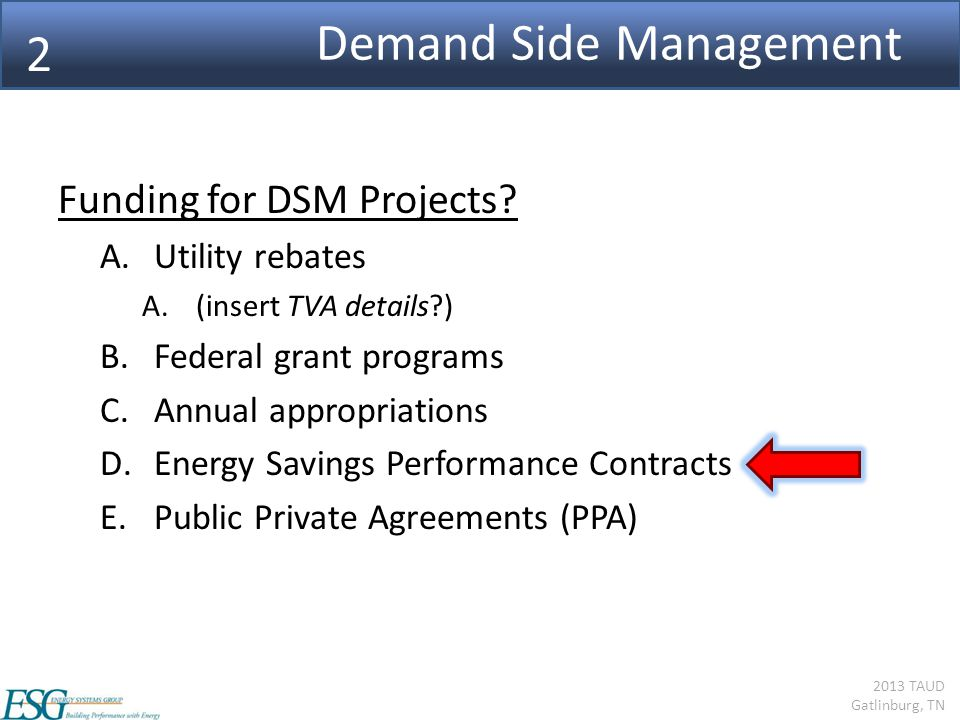 2013 TAUD Gatlinburg, TN Demand Side Management Funding for DSM Projects.