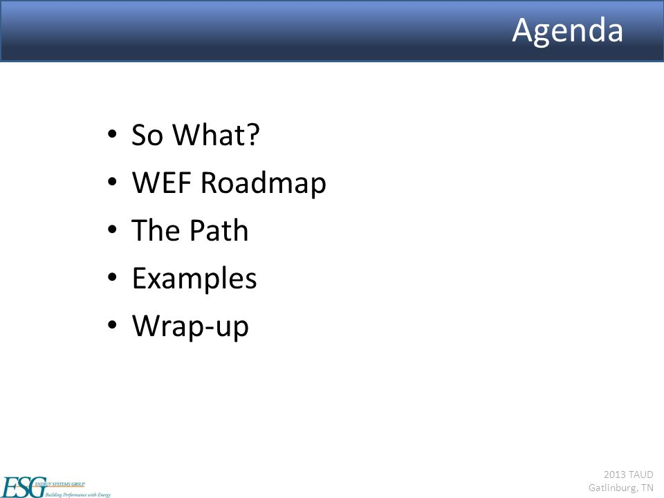 2013 TAUD Gatlinburg, TN Agenda So What? WEF Roadmap The Path Examples Wrap-up