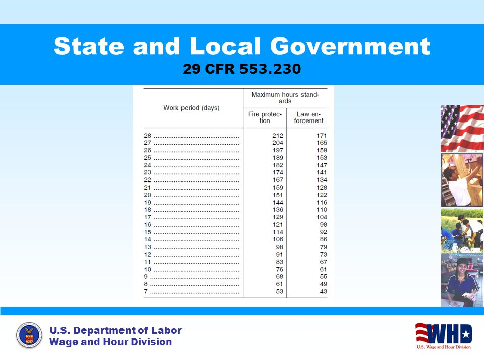 U.S. Department of Labor Wage and Hour Division State and Local Government 29 CFR 553.230