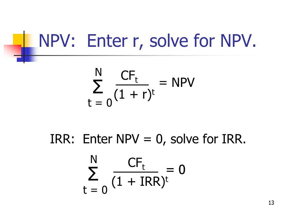 13 NPV: Enter r, solve for NPV. IRR: Enter NPV = 0, solve for IRR.