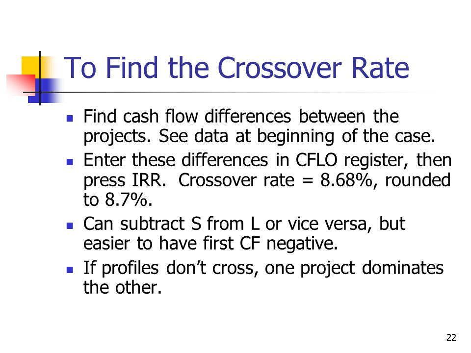 22 To Find the Crossover Rate Find cash flow differences between the projects.