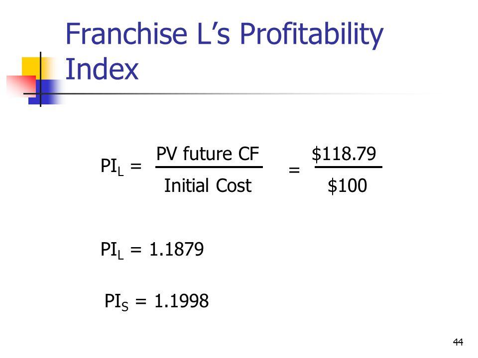 44 Franchise L's Profitability Index PI L = PV future CF Initial Cost $118.79 = PI L = 1.1879 $100 PI S = 1.1998
