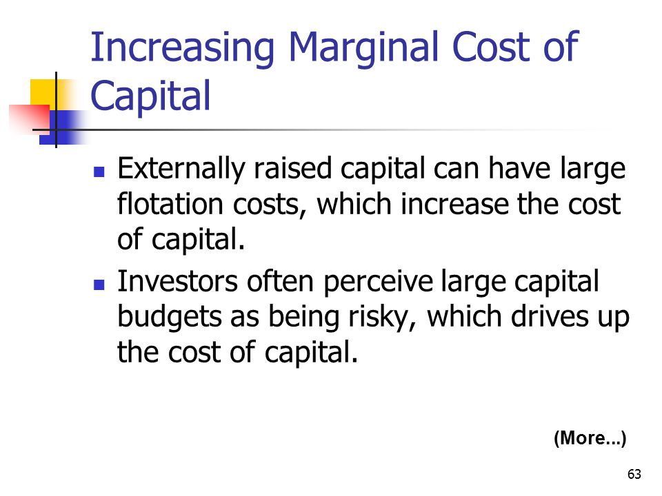 63 Increasing Marginal Cost of Capital Externally raised capital can have large flotation costs, which increase the cost of capital.