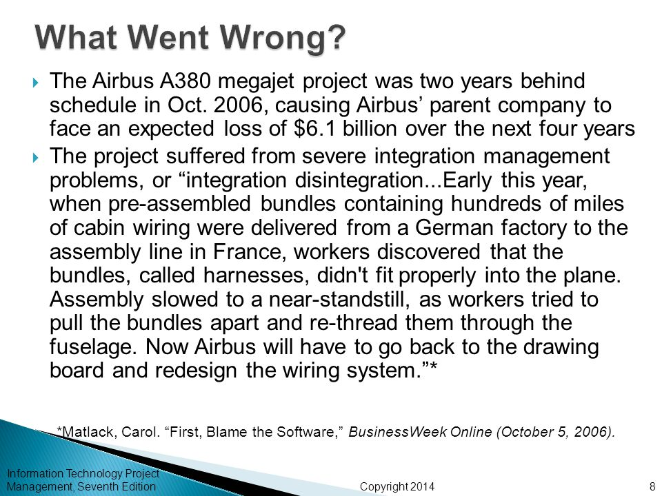 Copyright 2014  The Airbus A380 megajet project was two years behind schedule in Oct. 2006, causing Airbus' parent company to face an expected loss o