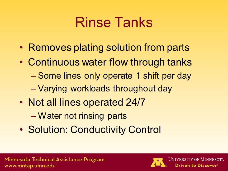 Rinse Tanks Removes plating solution from parts Continuous water flow through tanks –Some lines only operate 1 shift per day –Varying workloads throughout day Not all lines operated 24/7 –Water not rinsing parts Solution: Conductivity Control