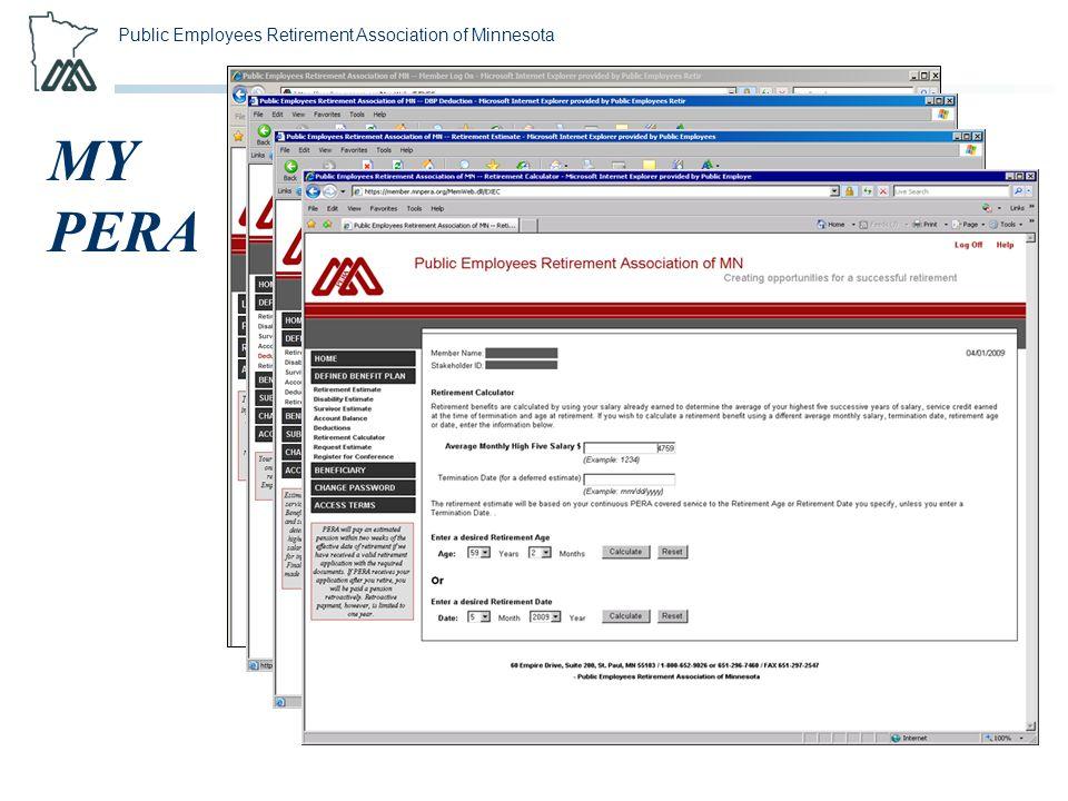 Public Employees Retirement Association of Minnesota MY PERA