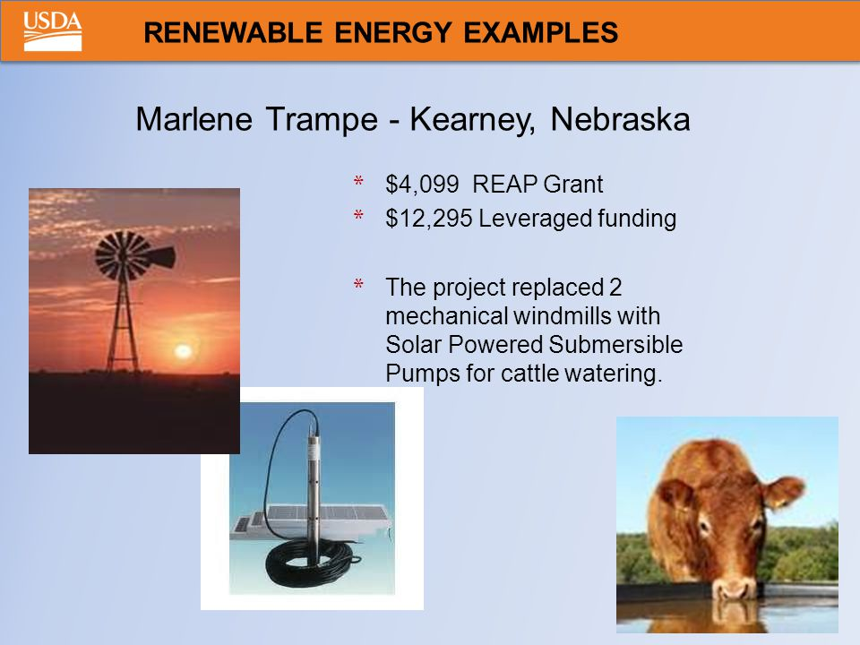 * $4,099 REAP Grant * $12,295 Leveraged funding * The project replaced 2 mechanical windmills with Solar Powered Submersible Pumps for cattle watering.