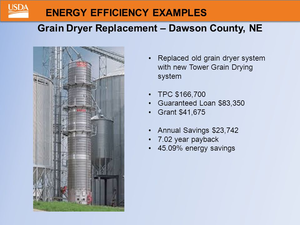 Grain Dryer Replacement – Dawson County, NE Replaced old grain dryer system with new Tower Grain Drying system TPC $166,700 Guaranteed Loan $83,350 Grant $41,675 Annual Savings $23,742 7.02 year payback 45.09% energy savings ENERGY EFFICIENCY EXAMPLES