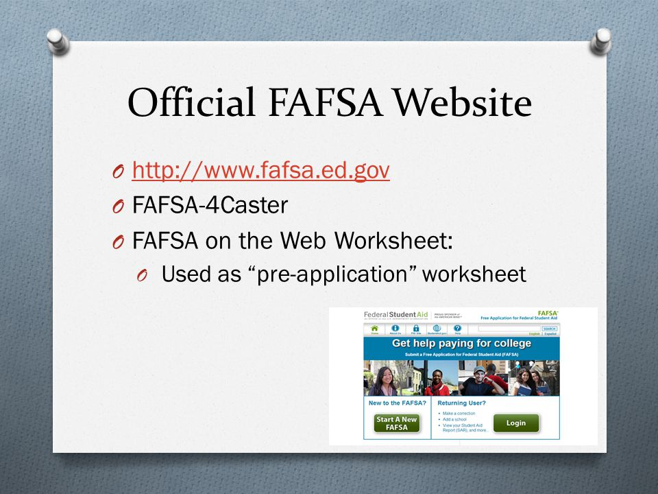 Financial Aid Overview Three Basic Questions O What is Financial – Fafsa on the Web Worksheet