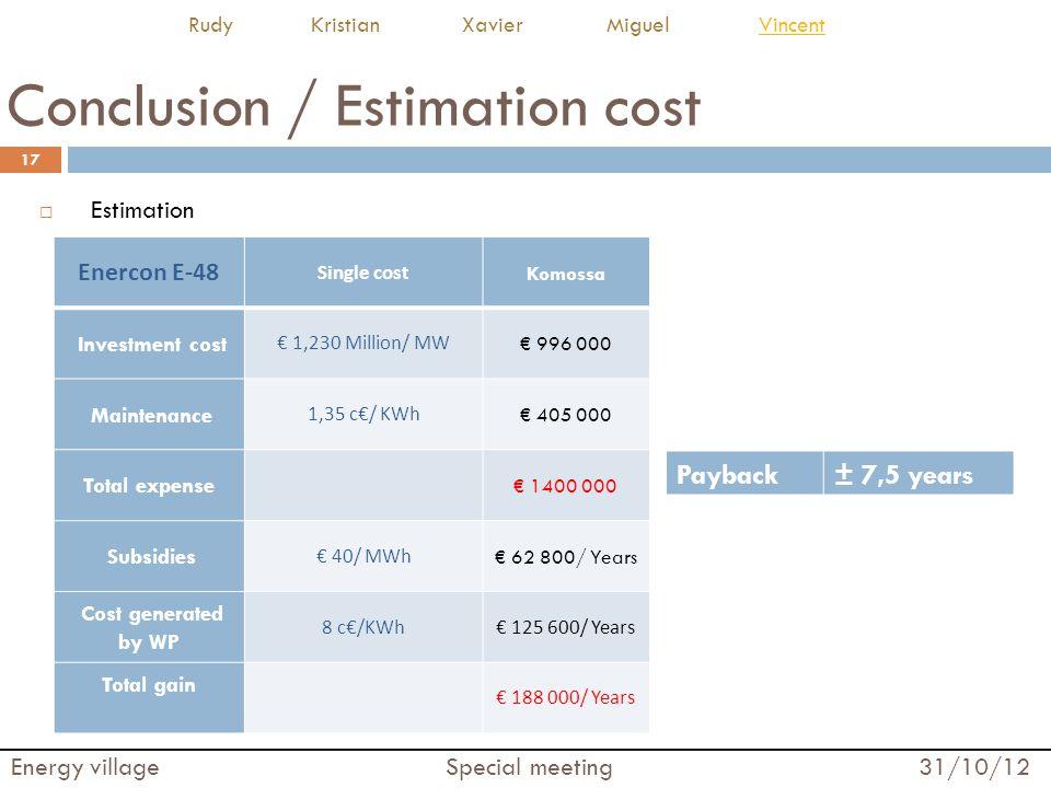 Conclusion / Estimation cost  Estimation 17 Energy village Special meeting 31/10/12 Rudy Kristian Xavier Miguel VincentVincent Enercon E-48 Single co