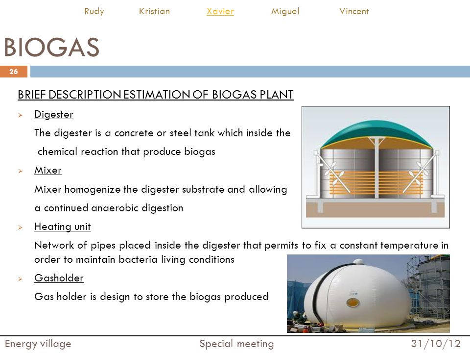BIOGAS BRIEF DESCRIPTION ESTIMATION OF BIOGAS PLANT  Digester The digester is a concrete or steel tank which inside the chemical reaction that produc