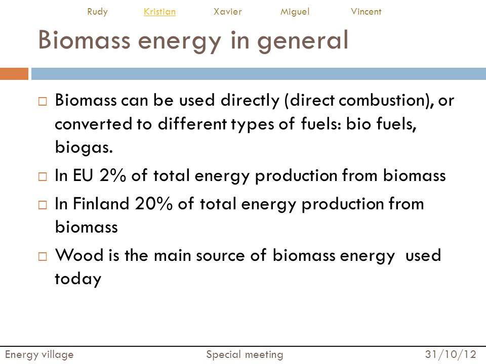 Biomass energy in general  Biomass can be used directly (direct combustion), or converted to different types of fuels: bio fuels, biogas.  In EU 2%