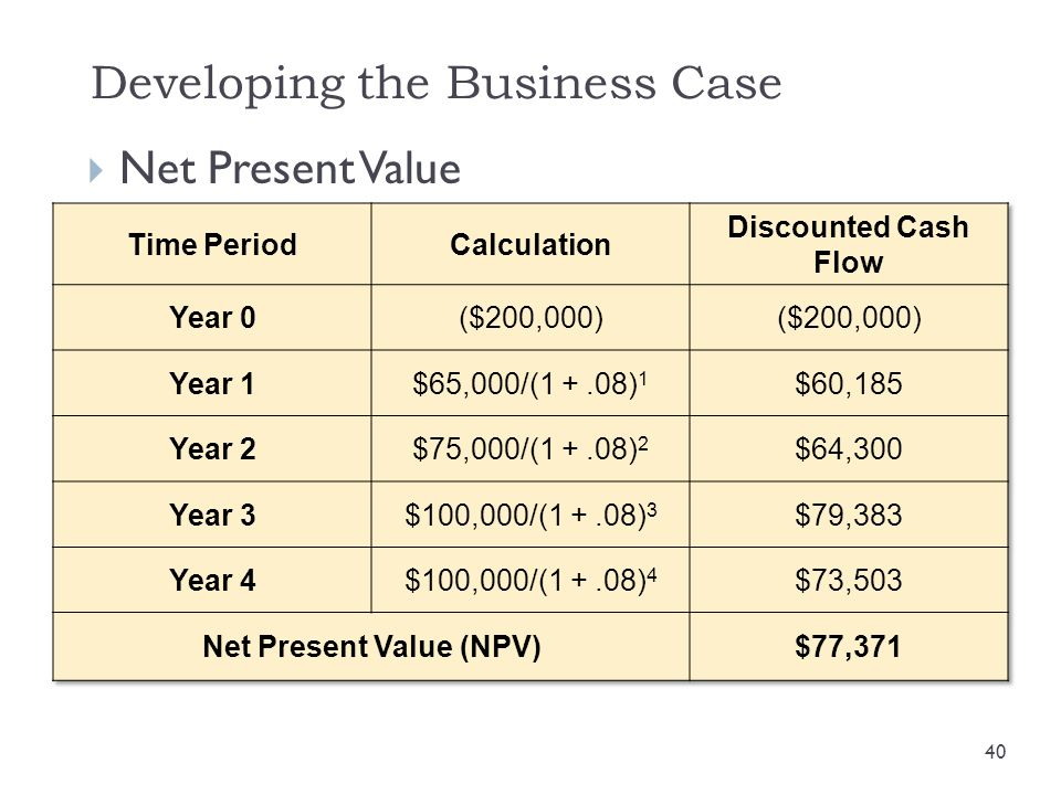 Developing the Business Case  Net Present Value 40