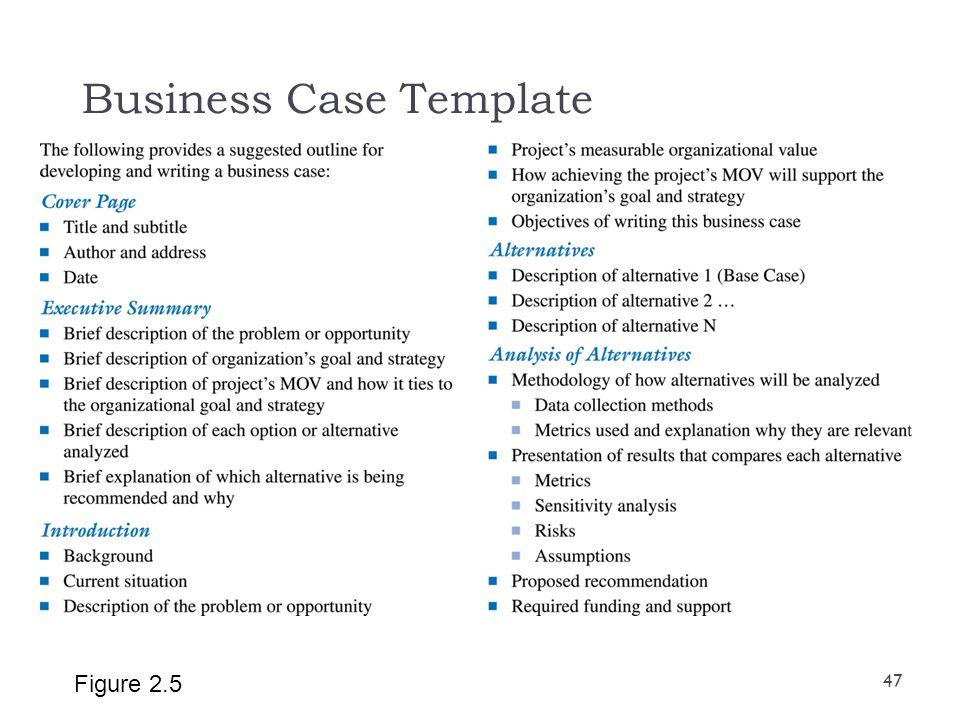 Business Case Template Figure 2.5 47