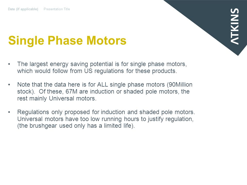 Single Phase Motors The largest energy saving potential is for single phase motors, which would follow from US regulations for these products.