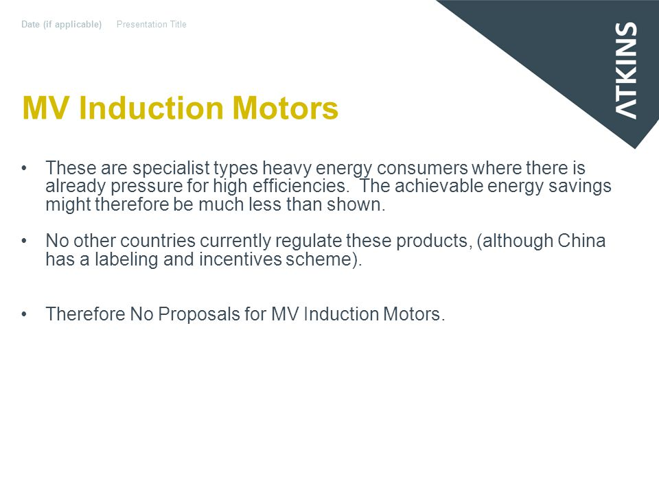 MV Induction Motors These are specialist types heavy energy consumers where there is already pressure for high efficiencies.