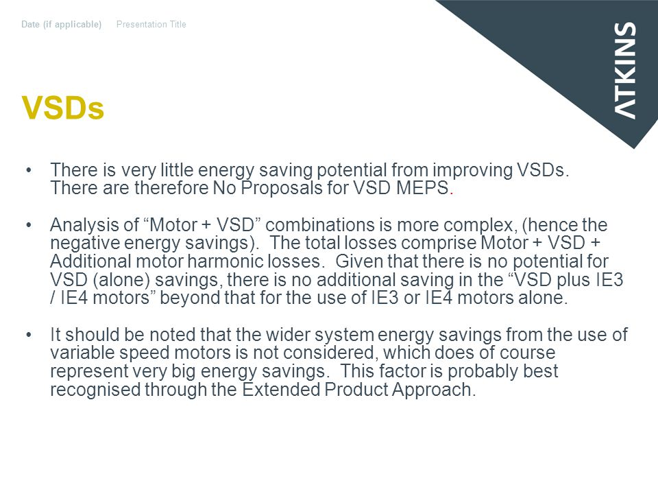 VSDs There is very little energy saving potential from improving VSDs.