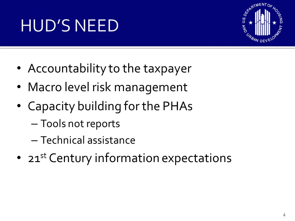 Accountability to the taxpayer Macro level risk management Capacity building for the PHAs – Tools not reports – Technical assistance 21 st Century inf
