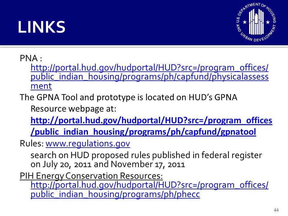 44 LINKS PNA : http://portal.hud.gov/hudportal/HUD?src=/program_offices/ public_indian_housing/programs/ph/capfund/physicalassess ment http://portal.h