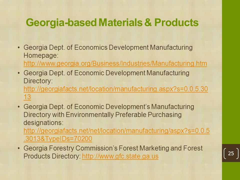 Georgia-based Materials & Products Georgia Dept.