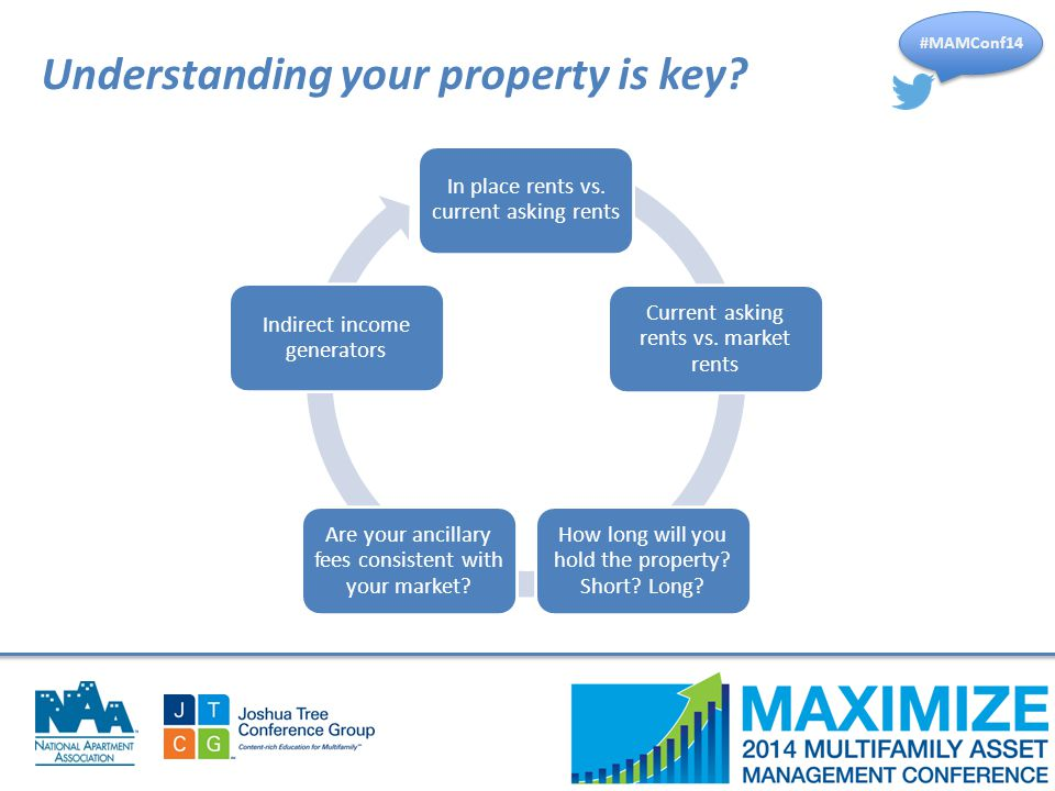 #MAMConf14 Understanding your property is key? In place rents vs. current asking rents Current asking rents vs. market rents How long will you hold th