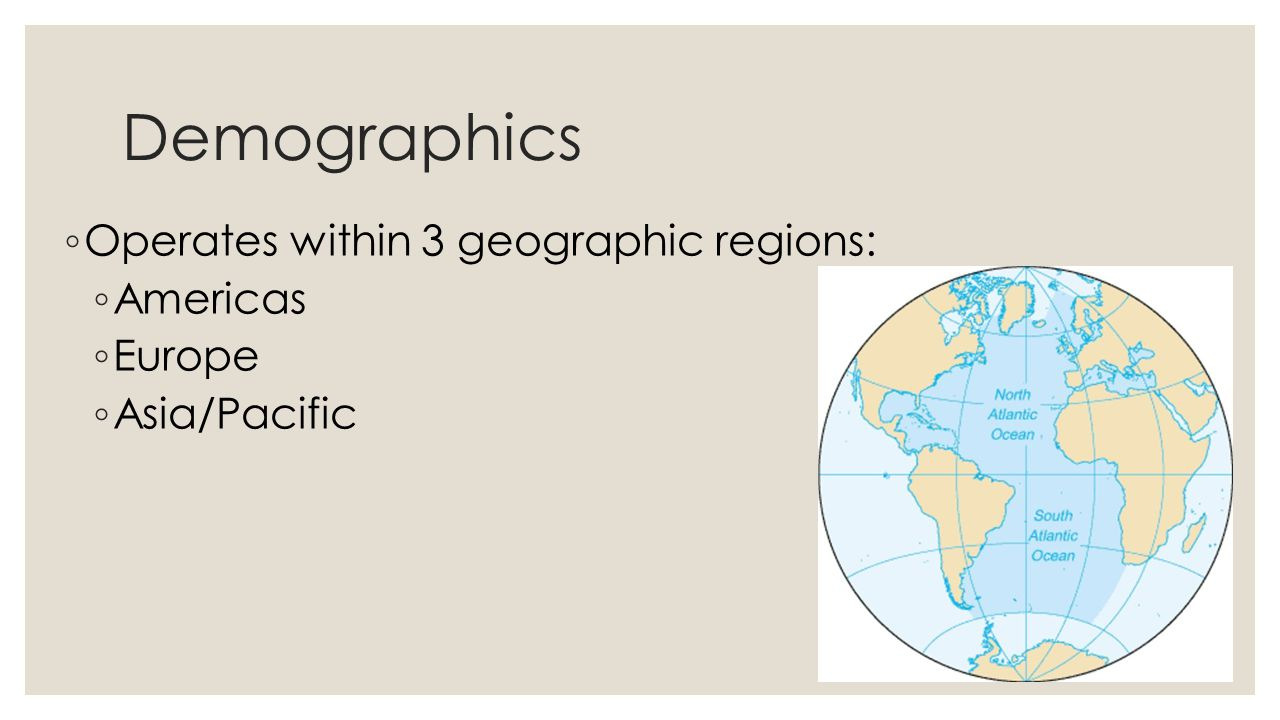 Demographics ◦ Operates within 3 geographic regions: ◦ Americas ◦ Europe ◦ Asia/Pacific