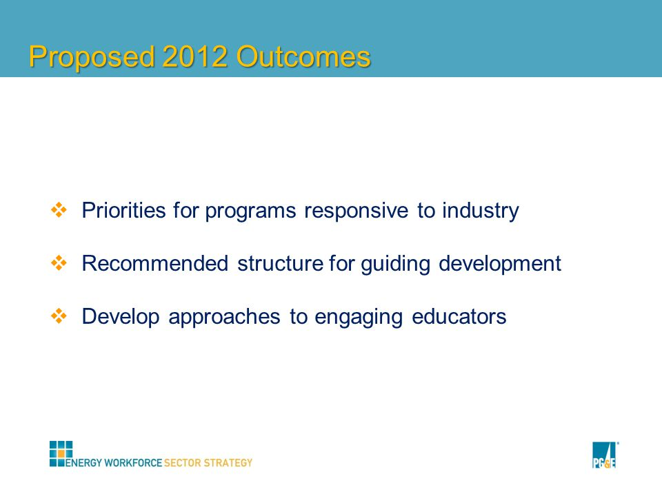 Proposed 2012 Outcomes  Priorities for programs responsive to industry  Recommended structure for guiding development  Develop approaches to engaging educators