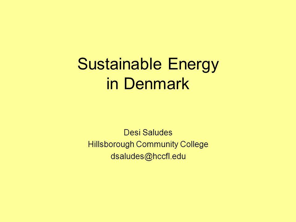 Sustainable Energy in Denmark Desi Saludes Hillsborough Community College dsaludes@hccfl.edu