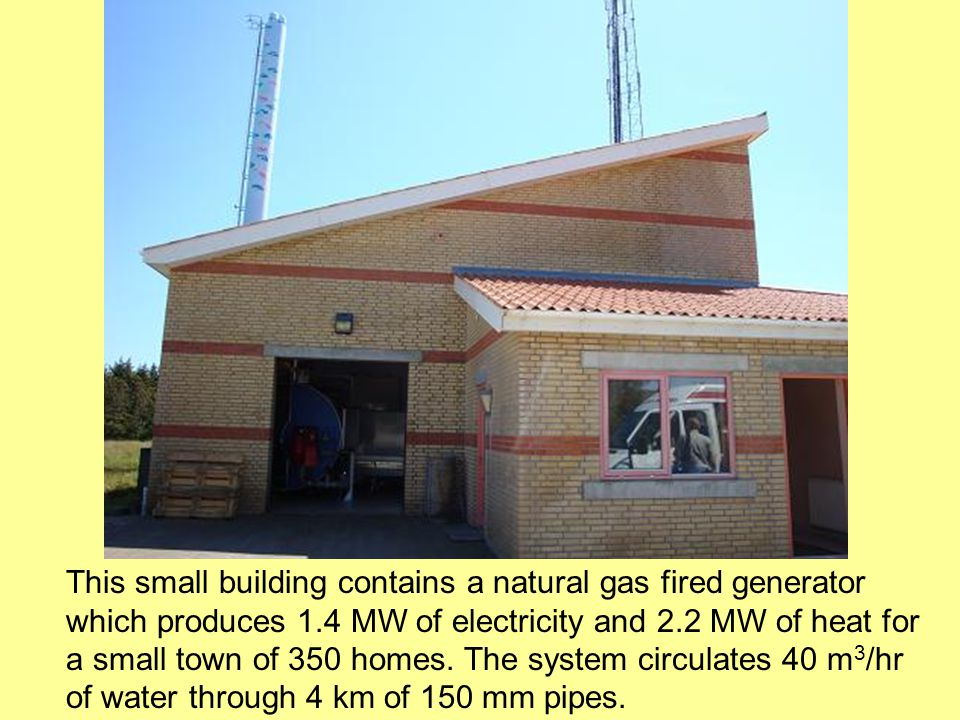 This small building contains a natural gas fired generator which produces 1.4 MW of electricity and 2.2 MW of heat for a small town of 350 homes.