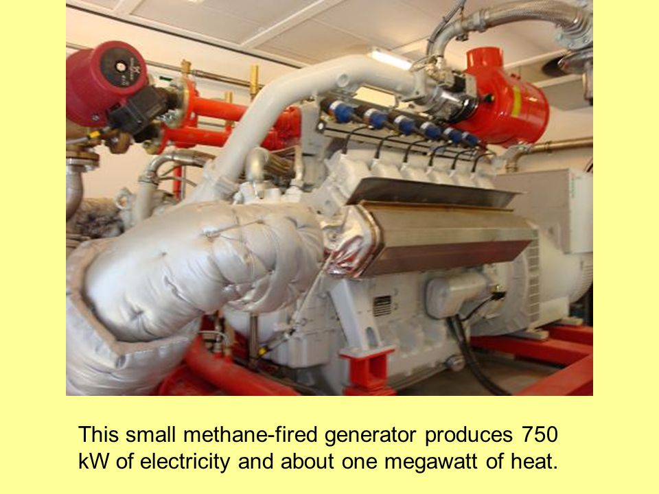 This small methane-fired generator produces 750 kW of electricity and about one megawatt of heat.
