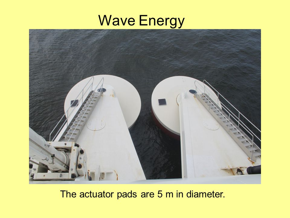 Wave Energy The actuator pads are 5 m in diameter.
