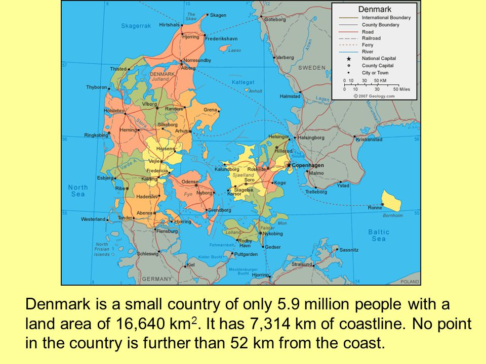 Denmark is a small country of only 5.9 million people with a land area of 16,640 km 2.