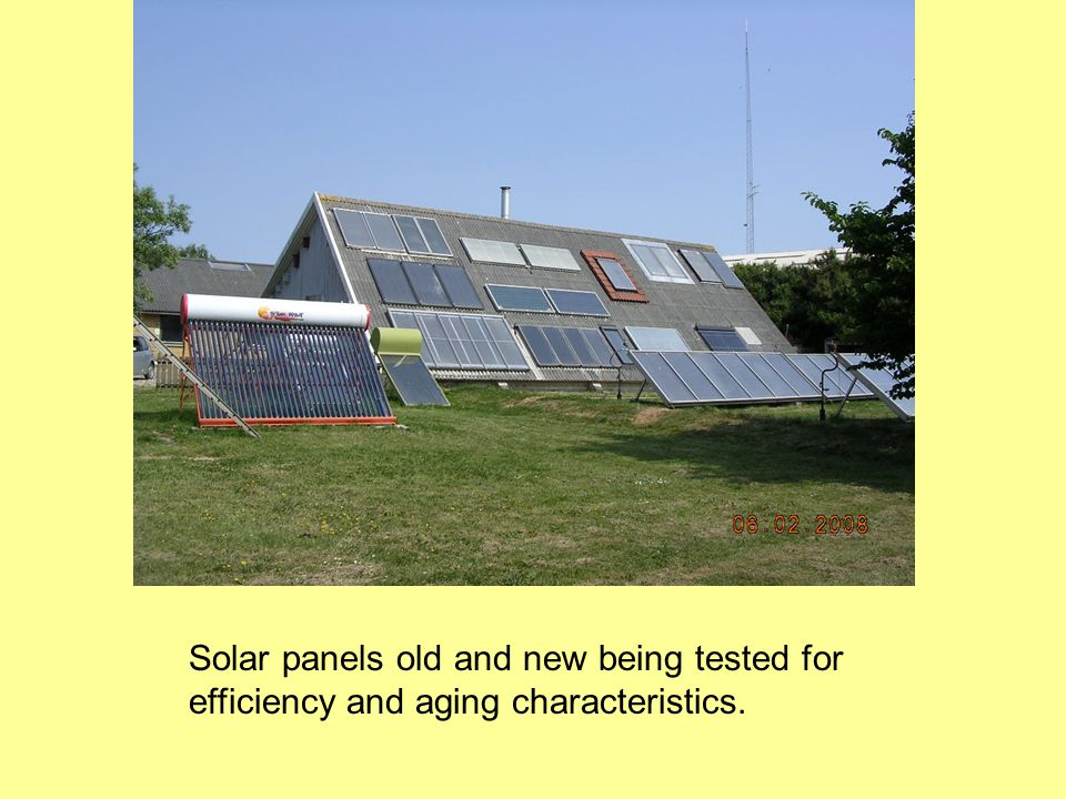 Solar panels old and new being tested for efficiency and aging characteristics.