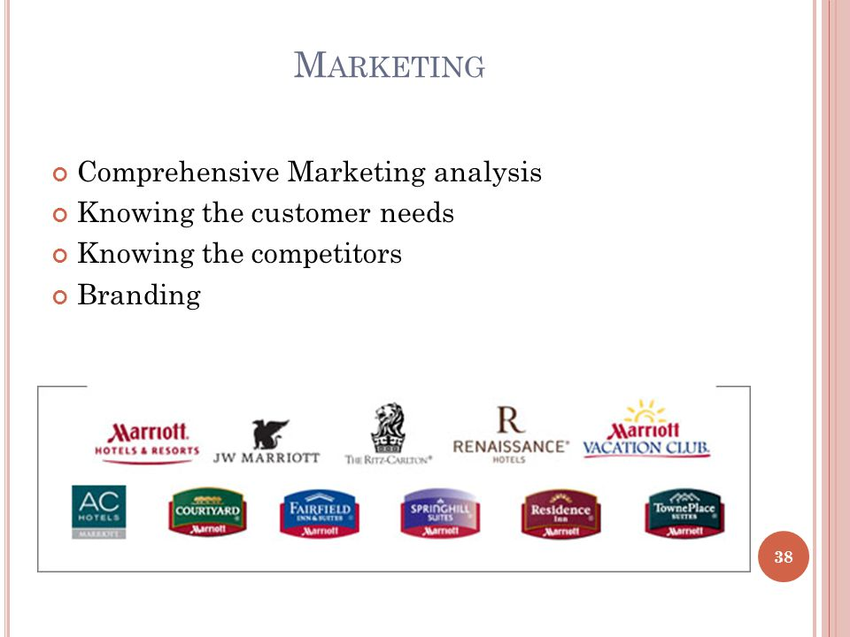 M ARKETING Comprehensive Marketing analysis Knowing the customer needs Knowing the competitors Branding 38