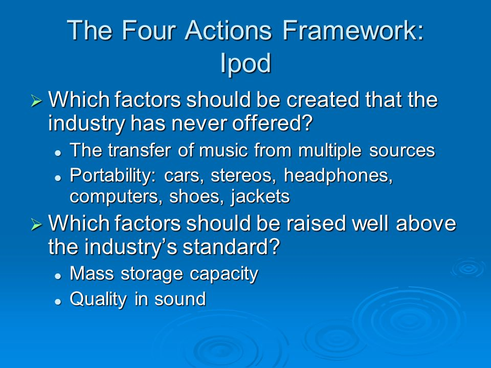 The Four Actions Framework: Ipod  Which factors should be created that the industry has never offered? The transfer of music from multiple sources Th