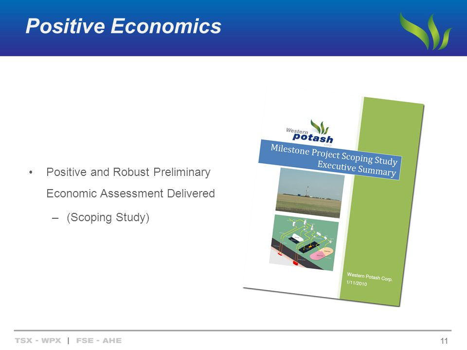 Positive Economics Positive and Robust Preliminary Economic Assessment Delivered –(Scoping Study) 11