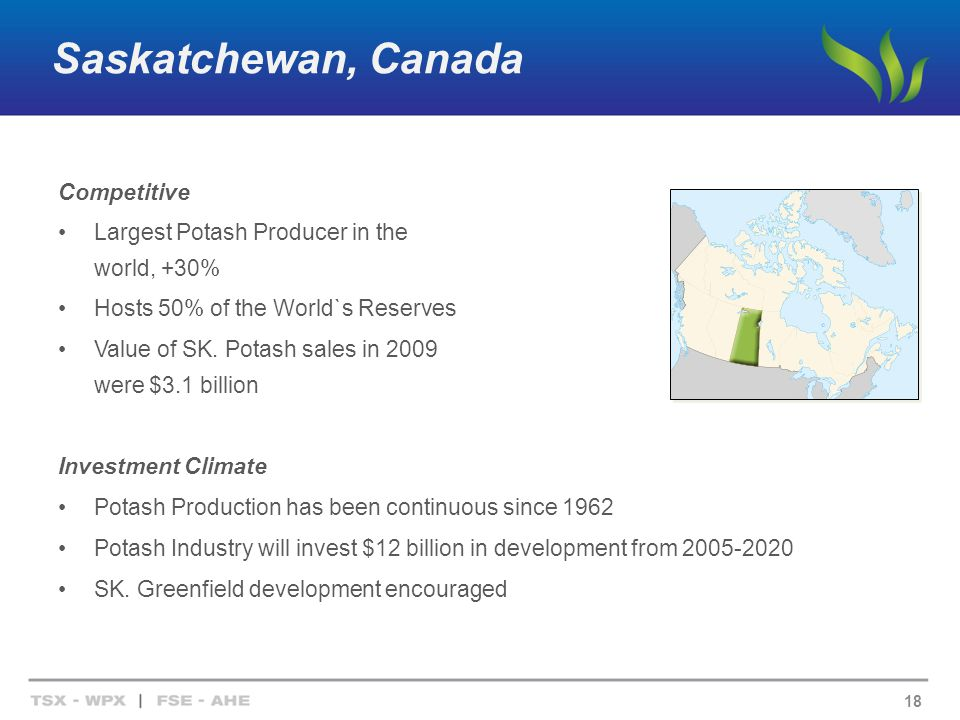 Saskatchewan, Canada Competitive Largest Potash Producer in the world, +30% Hosts 50% of the World`s Reserves Value of SK.