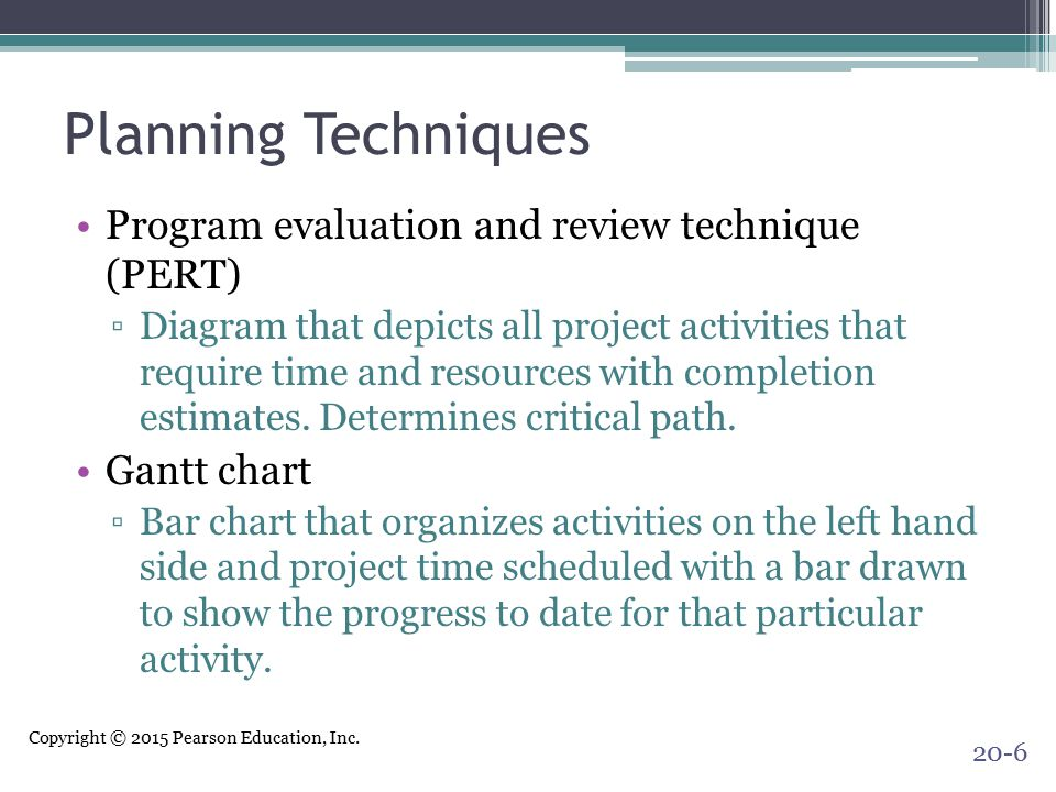 Copyright © 2015 Pearson Education, Inc. Planning Techniques Program evaluation and review technique (PERT) ▫Diagram that depicts all project activiti
