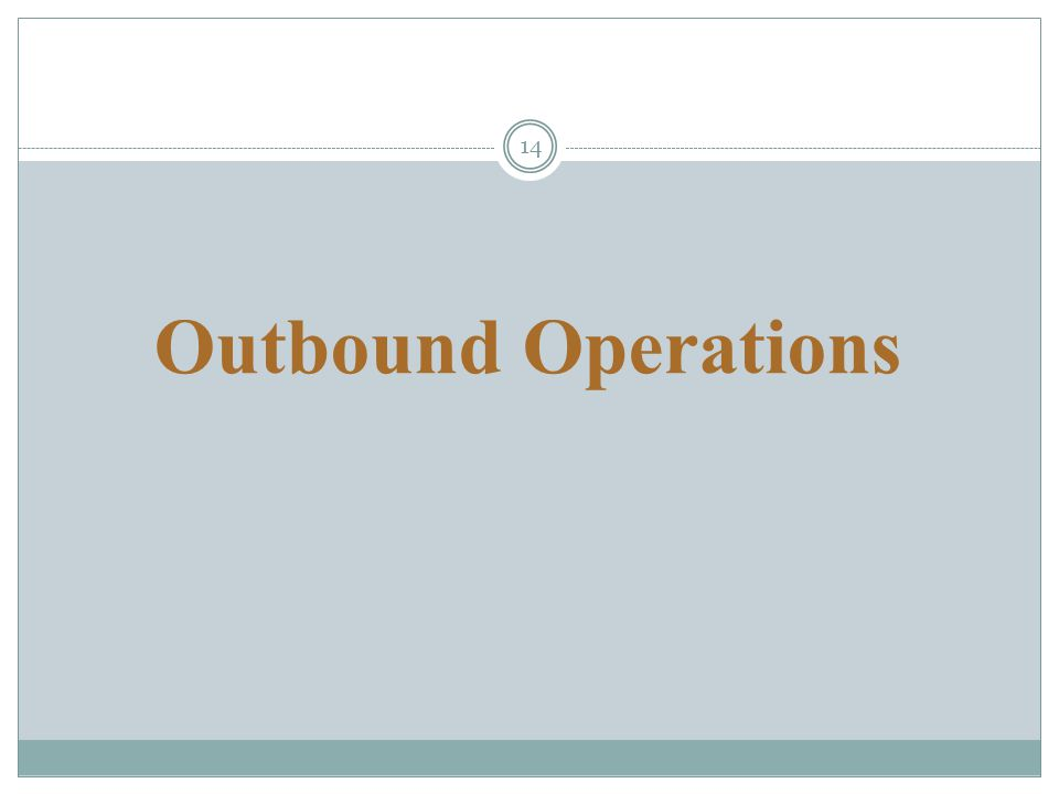 14 Outbound Operations