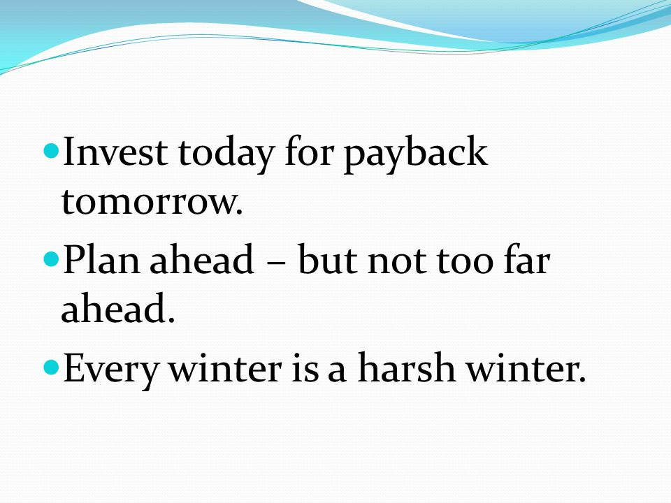 Invest today for payback tomorrow. Plan ahead – but not too far ahead.
