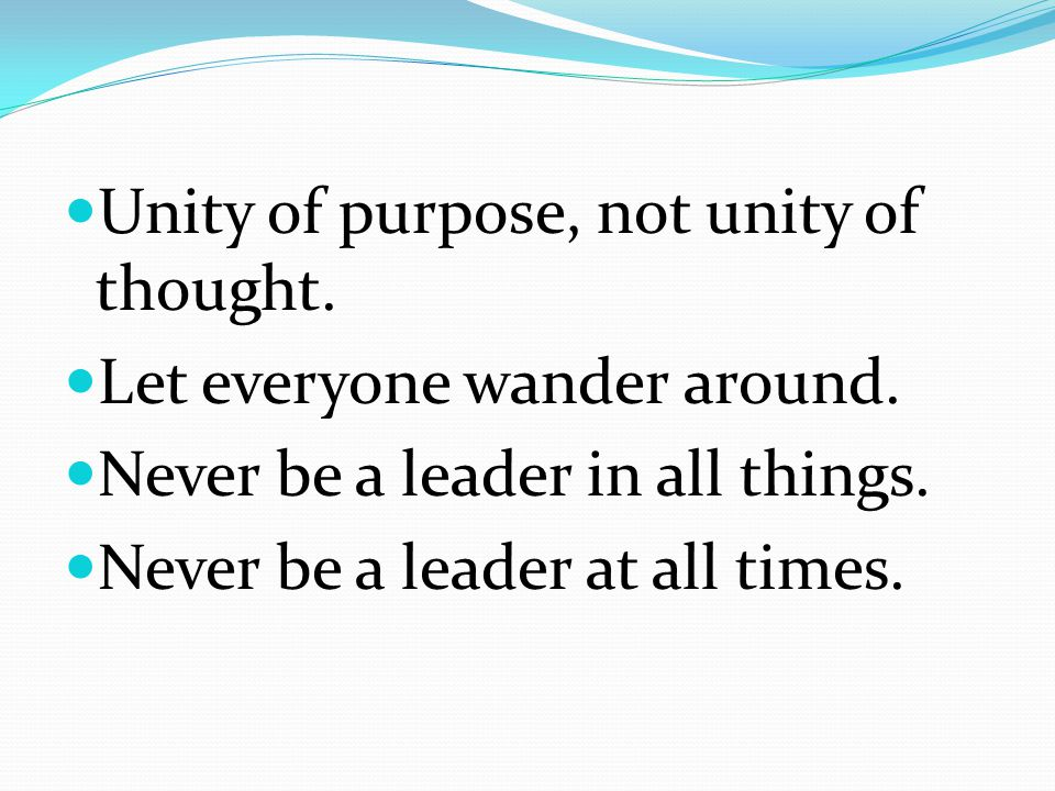 Unity of purpose, not unity of thought. Let everyone wander around.