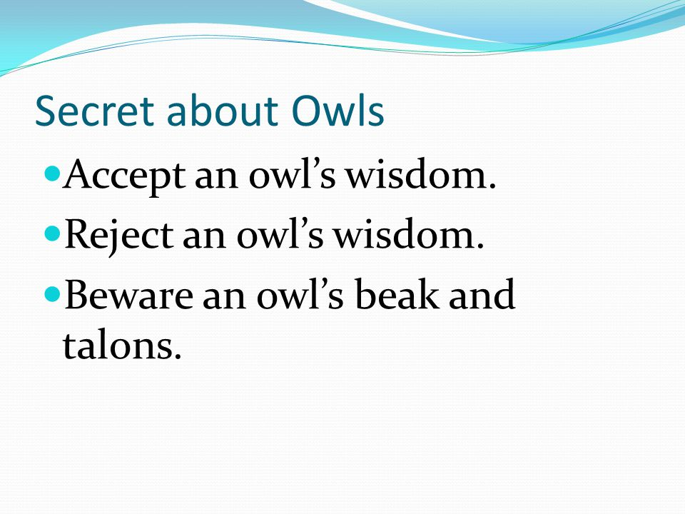 Secret about Owls Accept an owl's wisdom. Reject an owl's wisdom. Beware an owl's beak and talons.