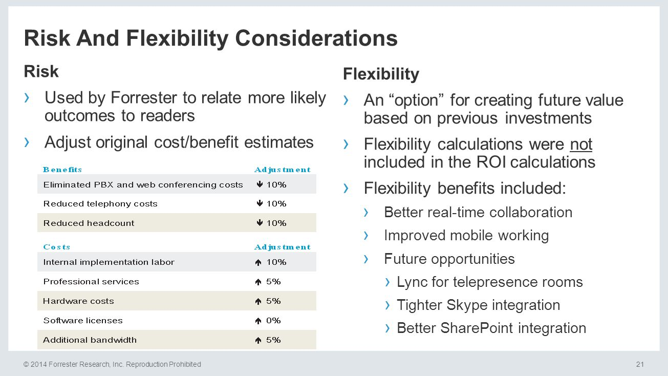 © 2014 Forrester Research, Inc. Reproduction Prohibited21 Risk And Flexibility Considerations Risk › Used by Forrester to relate more likely outcomes