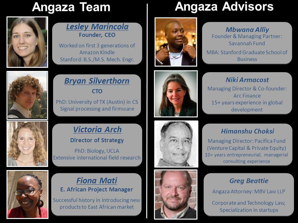 Mbwana Alliy Founder & Managing Partner: Savannah Fund MBA: Stanford Graduate School of Business Bryan Silverthorn CTO PhD: University of TX (Austin)