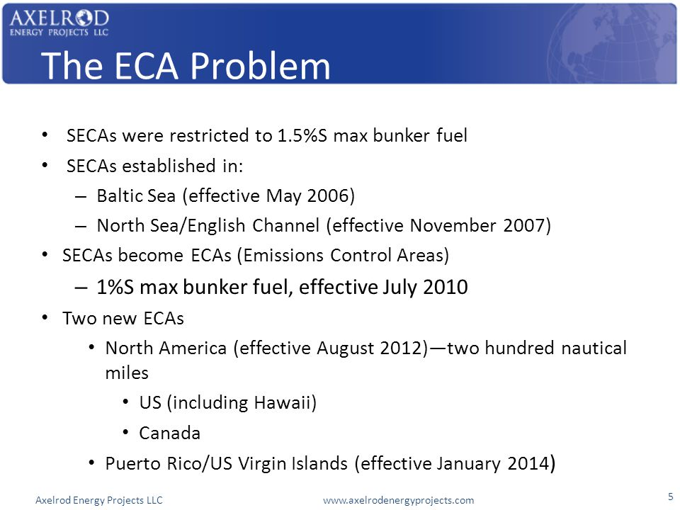 Axelrod Energy Projects LLC www.axelrodenergyprojects.com The ECA Problem SECAs were restricted to 1.5%S max bunker fuel SECAs established in: – Balti