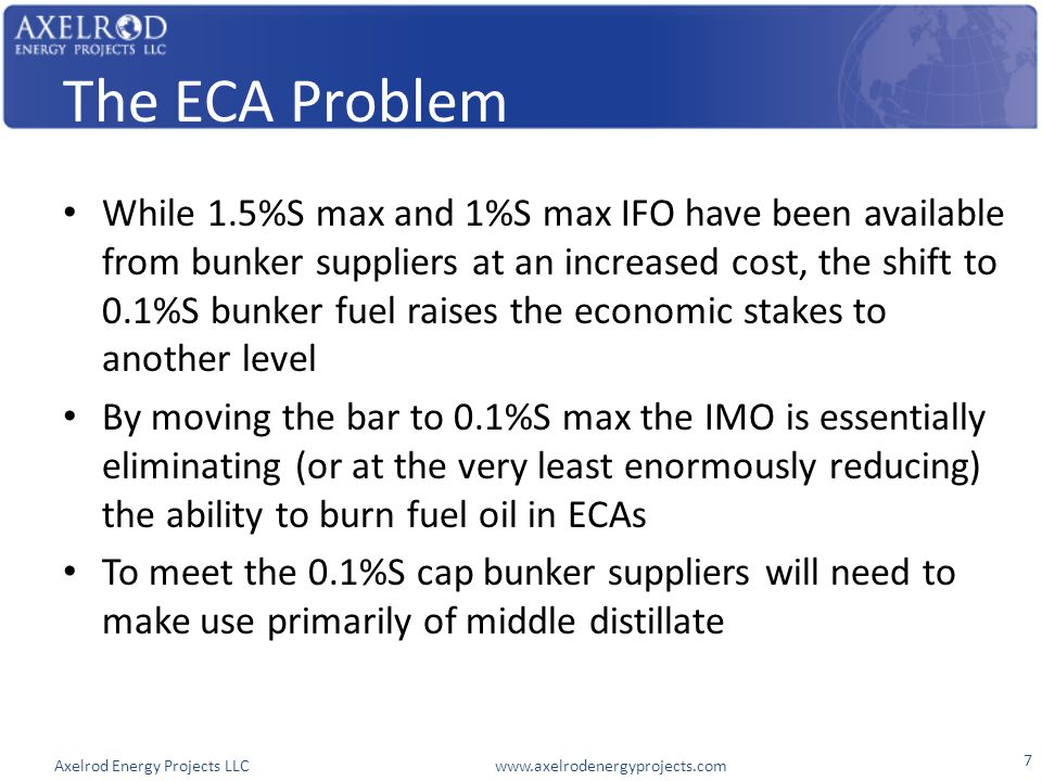 Axelrod Energy Projects LLC www.axelrodenergyprojects.com The ECA Problem While 1.5%S max and 1%S max IFO have been available from bunker suppliers at