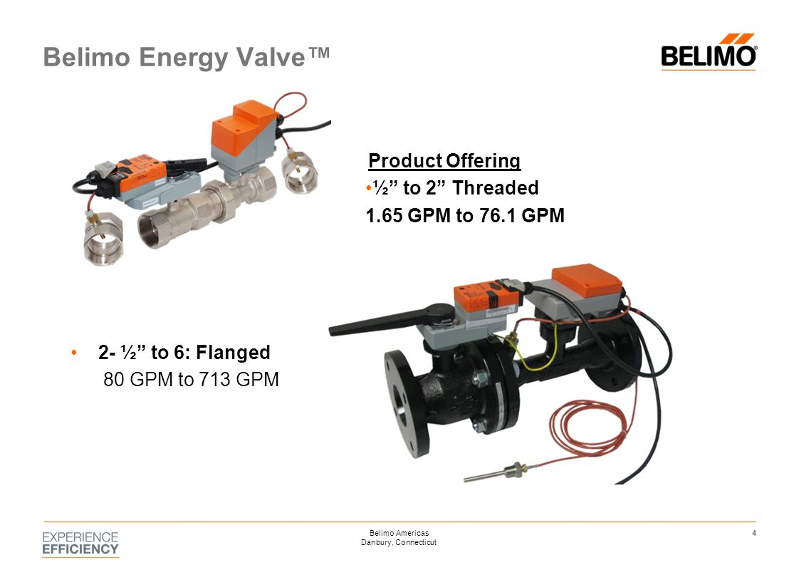 "Product Offering ½"" to 2"" Threaded 1.65 GPM to 76.1 GPM 2- ½"" to 6: Flanged 80 GPM to 713 GPM Belimo Energy Valve™ 4Belimo Americas Danbury, Connectic"