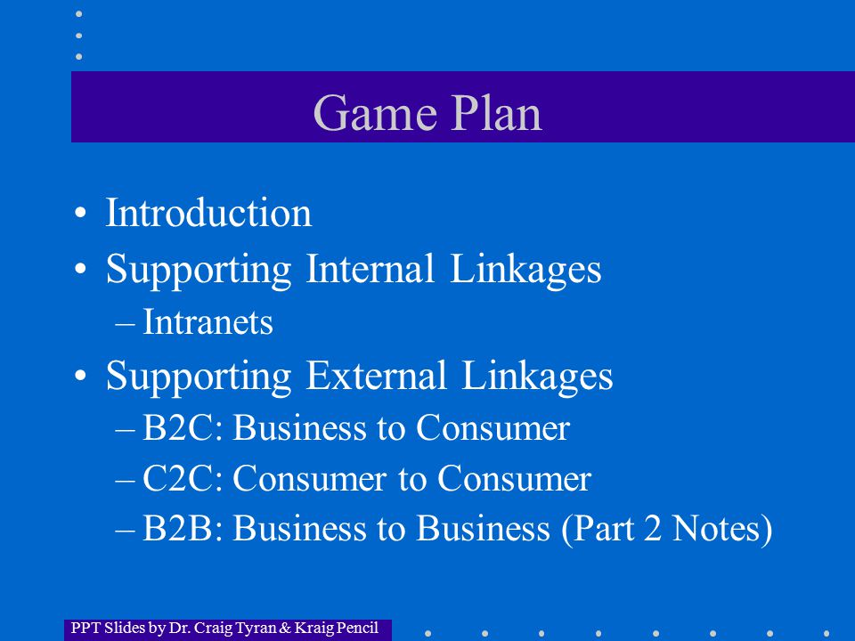 PPT Slides by Dr. Craig Tyran & Kraig Pencil Game Plan Introduction Supporting Internal Linkages –Intranets Supporting External Linkages –B2C: Busines